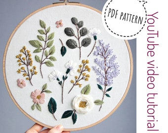 Pdf pattern+ video tutorial. Lilac and cherry blossom/ botanical elements / digital tutorial floral diy  hand embroidery Digital Download