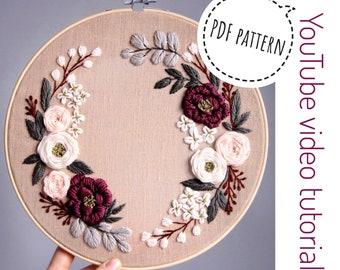 Pdf pattern+ video tutorial. Spring honey floral wreath/ digital tutorial floral diy  hand embroidery Digital Download