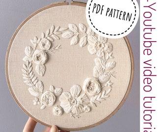 Pdf pattern+ video tutorial. Cream flower wreath/ digital tutorial floral diy  hand embroidery Digital Download
