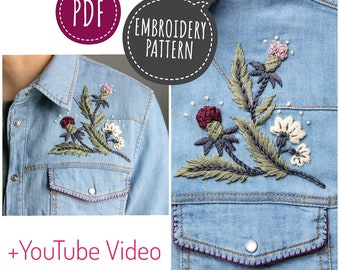 Thistle Embroidery  pattern for your shirt digital tutorial floral diy  hand embroidery Digital Download