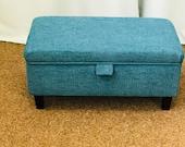 Storage Footstool, Ottoman, Pouffe in a Teal Atlanta Fabric