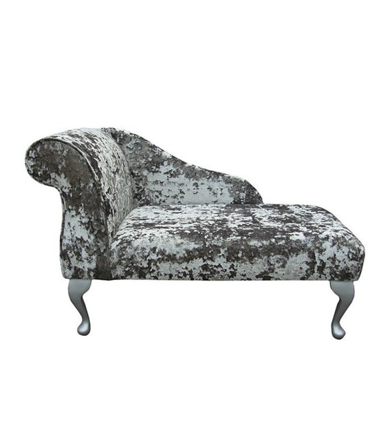 """41/"""" Small Chaise Longue Lounge Sofa Seat Chair Lustro Flint Fabric Queen Anne UK"""