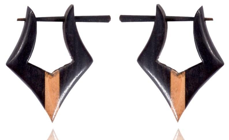 Tibetan Tribal Handmade Multi Color Wooden Black Beige Wood Stick Earring WER110