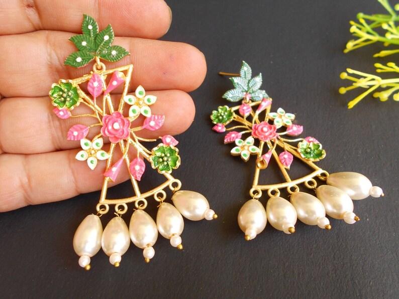 Handmade Golden Plated Meena Enamel Tribal Pearl Beads Party /& Wedding Earring 2506/_07