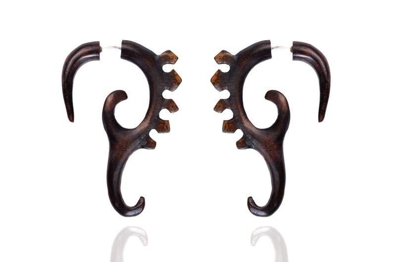 Tibetan Brown Wooden Handmade Tribal Design Wood Fake Gauge Stud Earring WER231