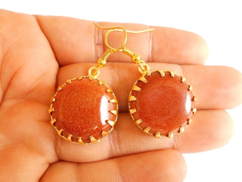 Handmade Matte Golden Plated Brown Semi Precious Stone Party Wedding Earring 0102/_1263