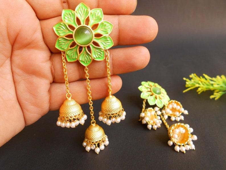 Handmade Matte Golden Finish Green Meena Enamel White Beads Floral Stone Jhumki Earring 1807/_6973