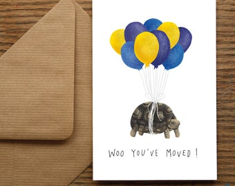 New Home Tortoise Greetings Card - Housewarming - New House Card - Moving House Gift - Moved - Hand Lettering - Leaving Card - Relocating
