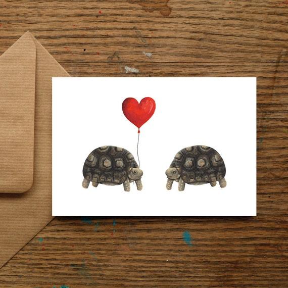 Tortoise Wedding Gift Art PrintCustom Anniversary Valentines GiftUnframed