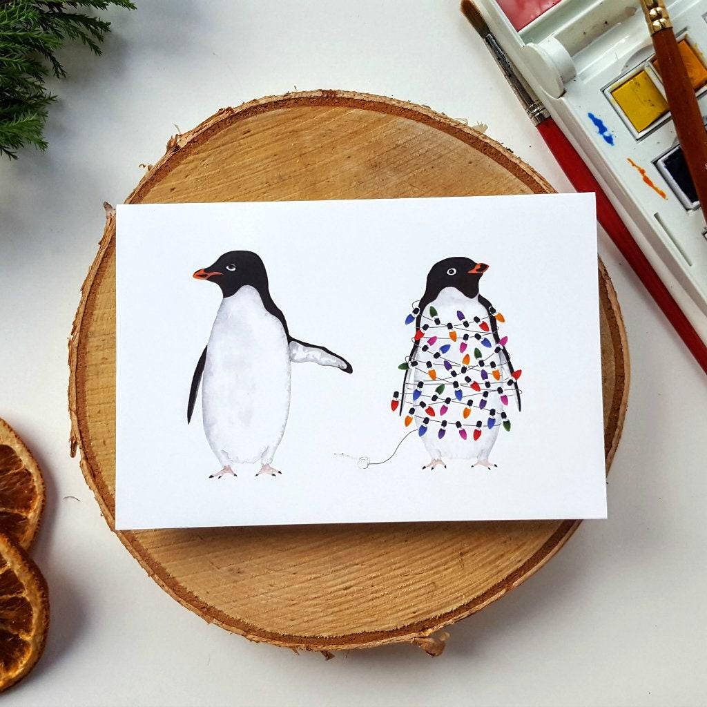 Festive Penguin Christmas Cards Xmas Festive Card | Etsy