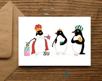 We Three Kings Penguin Christmas Cards - Xmas - Festive Card - Holidays - Holiday Card - Penguin - Funny - Christmas Card - Greetings - King