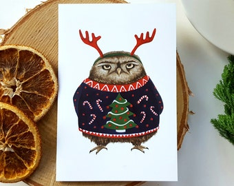 Grumpy Owl Christmas Cards - Xmas - Festive Card - Holidays - Holiday Card - Funny - Christmas Card - Turtle - Greetings - Sweater - Jumper