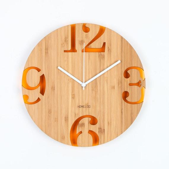 Moderne Grosse Zahlen Bambus Holz Wanduhr Orange Jahrgang Etsy