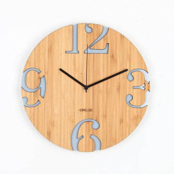 Moderne Grosse Zahlen Bambus Holz Wanduhr Grau Etsy