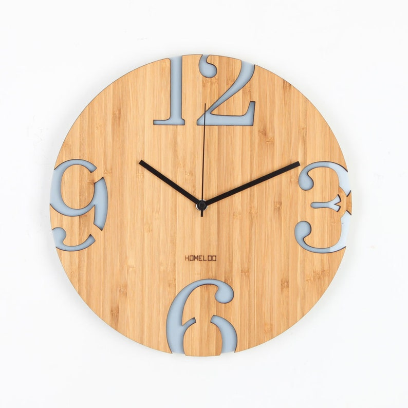 . Modern Big Numbers Bamboo Wood Wall Clock   Gray   Kitchen Vintage Modern