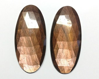 Golden Brown CHOCOLATE SAPPHIRE Gemstone PAIR : Natural Untreated Chocolate Sapphire Oval Rose Cut Slice Pair 36x17x3.5(depth)mm For Jewelry