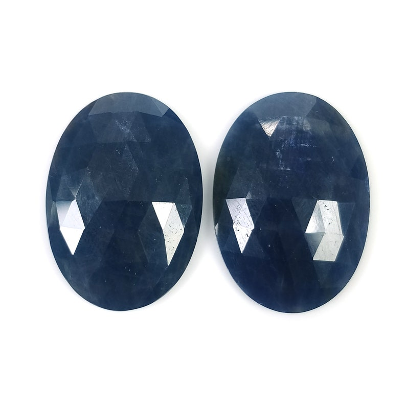 45.00cts Natural Untreated Unheated Sapphire Oval Shape 26*18mm Pair BLUE SAPPHIRE Gemstone Rose Cut