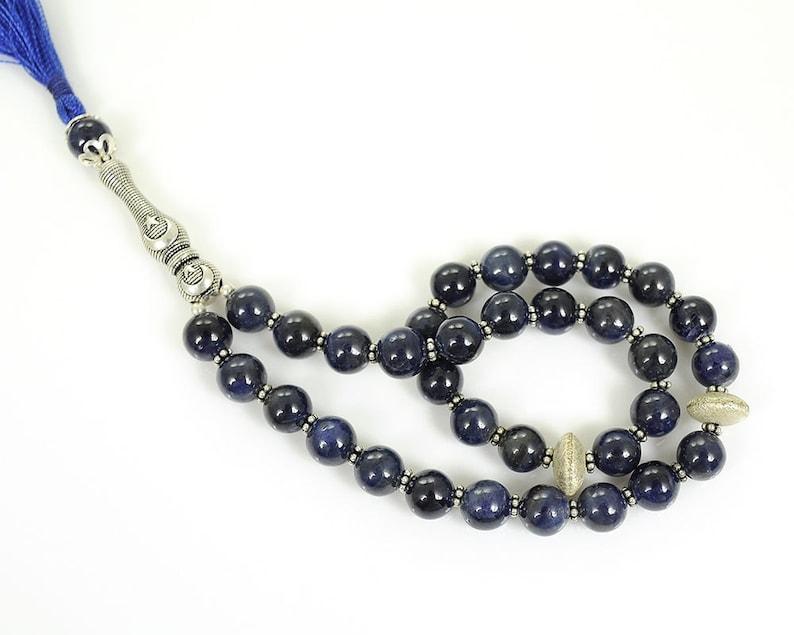 TURKISH ISLAMIC Salah 7mm Natural Untreated Blue SAPPHIRE Gemstone  Round Cabochon Prayer 33 Beads Misbaha Tasbih Sibha Masbaha
