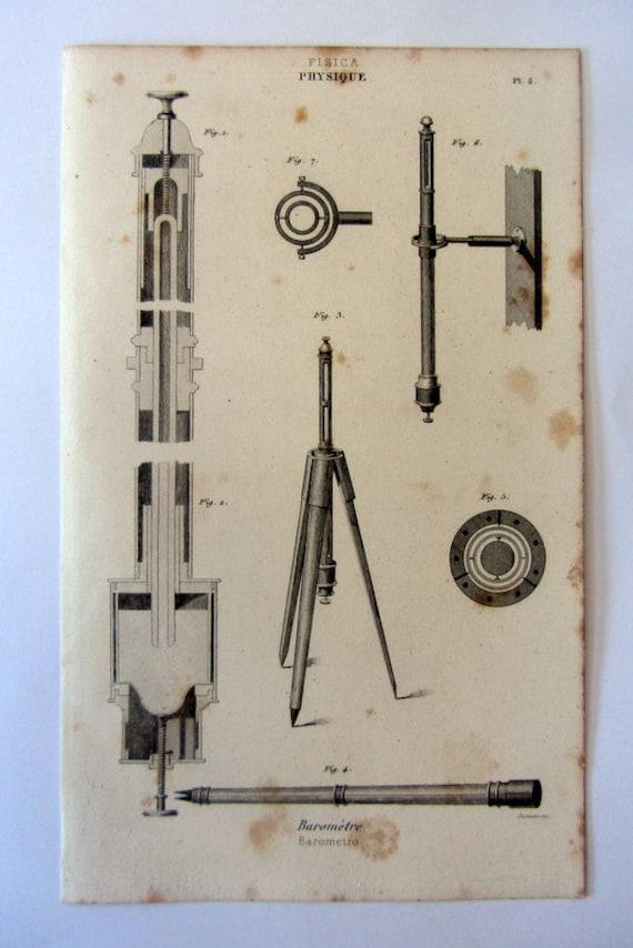 Antique science physics instruments engraving 1852 vintage scientific apparatus hydrostatics hydrodynamics print laboratory machine.