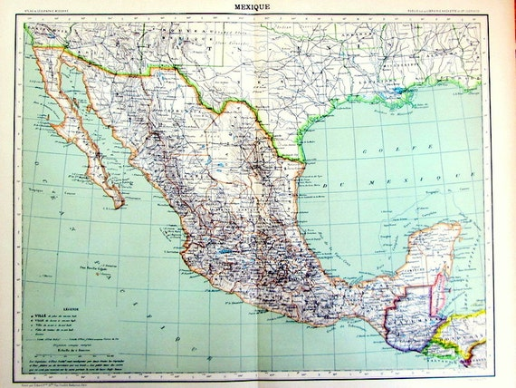 Antique 1901 Mexico Map Original Page Of Atlas Guatemala Etsy