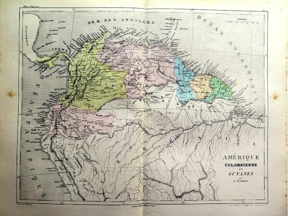 Ancient South America Map Engraving 1860 Original Antique Etsy