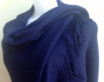 Navy Blue Winter Wedding Shawl, Warm Bridal Shawl, Midnight Blue Blanket Scarf, Dark Blue Warm Wrap, Blue Bridesmaids Shawl, Cozy Cover-up