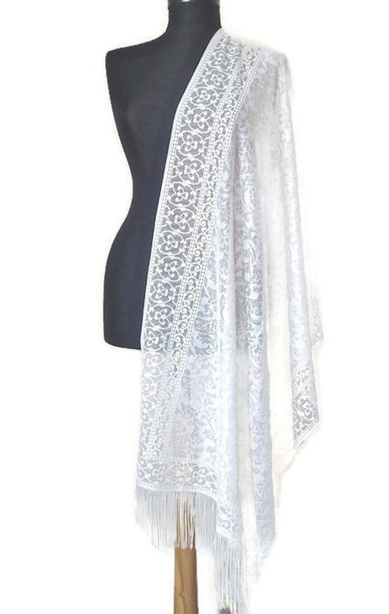 e4be40f6b97 Ivory Lace Wedding Shawl Soft Tulle Off White Elegant Scarf