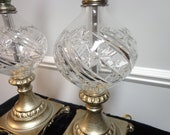 Pair of Waterford Crystal Lamps in Silver Plate Metal, Round Globe Cut Waterford Crystal Lamps with Ornate Silver Metal Base an Top Filigree