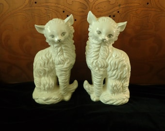 94d90d39fb Tall Porcellain White Turkish Van   Persian Cats Figures Statues in the  Elegant White on White Style