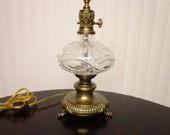 Gorgeous Waterford Crystal Lamp with Ornate Brass Base and Handle 22 quot Tall