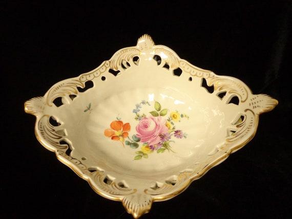 Antique Floral Overlay Openwork Bowl  Basket Excellent Condition Potschappel Von Carl Thieme Porcelain DRESDEN 1900/'s Germany