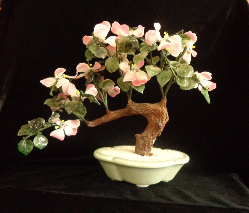 BONSAI Jade Pink White Blossoms Wire Tree in Jade Green Porcelain Planter Dish, Asian Home Bonsai Tree Jade Display