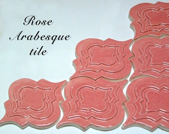 Arabesque Tile, 1 square foot, Rose pink glaze, handmade relief tile, for fireplace, kitchen or bath