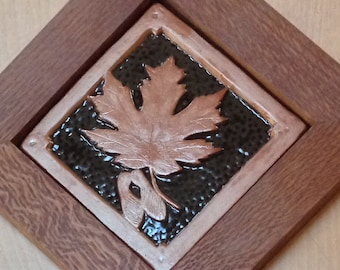 Framed  Maple leaf copper and espresso tile, Christmas gift, wall decor