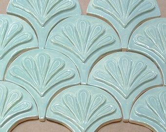 Moroccan Fish Scale tile, 1 square foot 12 tile celadon green, handmade relief tile, for fireplace, kitchen or bath
