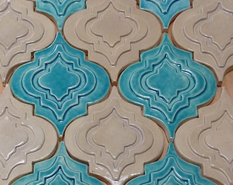 Arabesque Tile, 1 square foot, turquoise and beige glaze, handmade relief tile, for fireplace, kitchen or bath