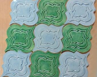 Arabesque Tile, 1 square foot, deep green and sky blue glaze, handmade relief tile, kitchen backsplash tile