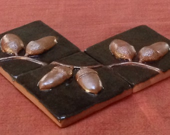"3"" Acorn Tiles, Arts and Crafts tiles, espresso and copper glaze.Set of 3"