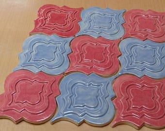 Arabesque Tile, 1 square foot, rose and lavender blue glaze, handmade relief tile, kitchen backsplash tile
