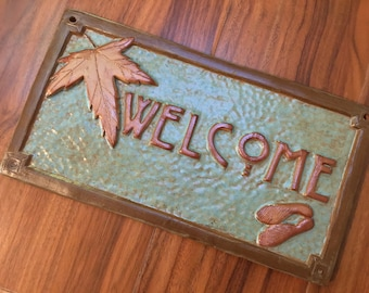 Maple Leaf Welcome Sign, Wedding or Birthday Day Gift, Arts and Crafts,  green spotted & metallic copper glaze.