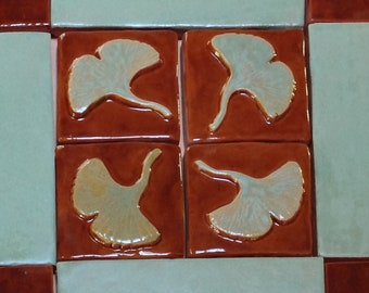 3 inch Gingko/Ginkgo Tile,Arts and Crafts tile for fireplace or kitchen, chocolate and spring green glaze. Set of 4