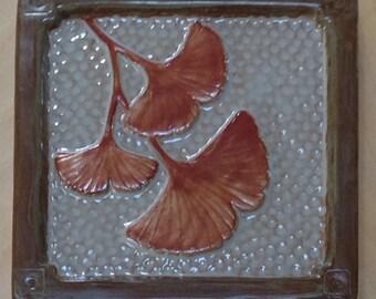 "Gingko Craftsman tile,6"" fireplace tile, kitchen backsplash, taupe and metallic copper glaze"