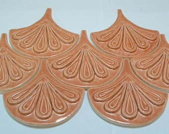 Moroccan Fish Scale tile, 1 square foot 12 tile orange, handmade relief tile, for fireplace, kitchen or bath