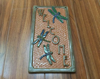 Welcome Sign Gift. Craftsman Dragonfly Sign, Vertical sign rust, copper & blue,