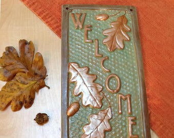Welcome Sign, Wedding gift. Craftsman, oak leaves & acorns, green and copper.
