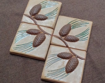 """Set of 4, 3"""" Pinecone Craftsman tile for fireplace, kitchen and bath Ocher & brown glaze."""