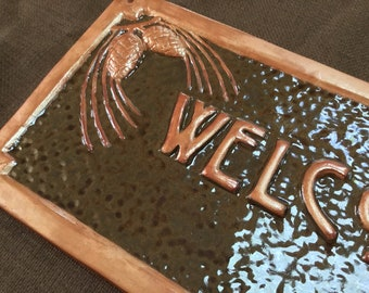 Pinecone Welcome Sign, Christmas Gift, Craftsman espresso and metallic copper glaze.