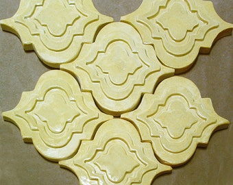 Arabesque Tile, 1 square foot, sunlight yellow glaze, handmade relief tile, for fireplace, kitchen or bath