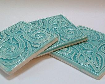 3 Fern tile for kitchen back-splash, 4.25 inch, Turquoise glaze/kitchen tile/ Fiddle-head fern tile