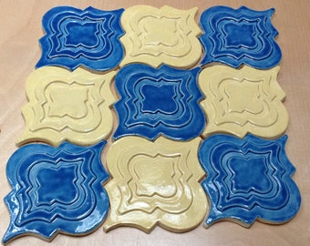 Arabesque Tile, 1 square foot, yellow and deep blue glaze, handmade relief tile, kitchen backsplash tile